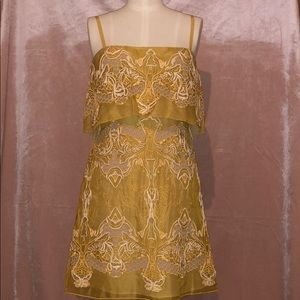 BCBG Runway Mustard Lace Dress